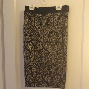 Gold and black pencil skirt